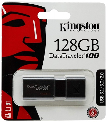 Kingston  128 GB DataTraveler 100 G3, USB 3.0, 3.1 Flash Drive, 128 GB, Nero